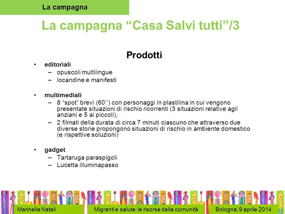 """Bologna, 9 aprile 2014 La campagna """"Casa Salvi tutti""""/3 Prodotti editoriali –opuscoli multilingue –locandine e manifesti multimediali –8 """"spot"""" brevi"""