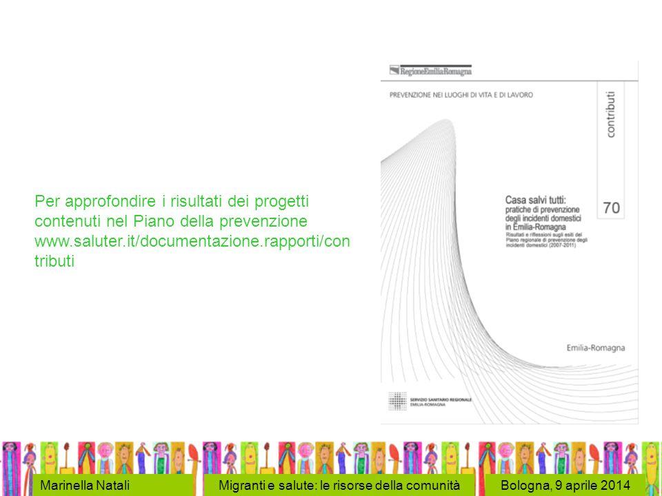 Bologna, 9 aprile 2014Marinella NataliMigranti e salute: le risorse della comunità Per approfondire i risultati dei progetti contenuti nel Piano della