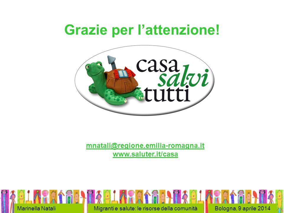 Bologna, 9 aprile 2014Marinella NataliMigranti e salute: le risorse della comunità Grazie per l'attenzione! mnatali@regione.emilia-romagna.it www.salu