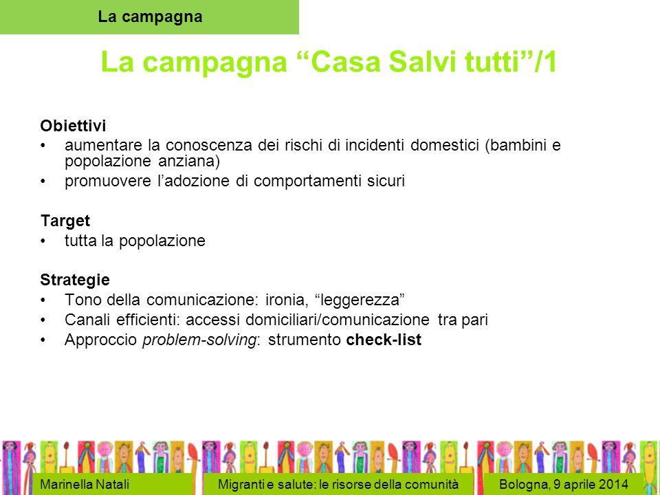 Bologna, 9 aprile 2014 La campagna Casa Salvi tutti /2 Identità e messaggi-chiave un sistema grafico coordinato per dare alla campagna una identità forte un logo (una tartaruga rielaborata graficamente) e uno slogan ( Casa salvi tutti ) La campagna Marinella NataliMigranti e salute: le risorse della comunità