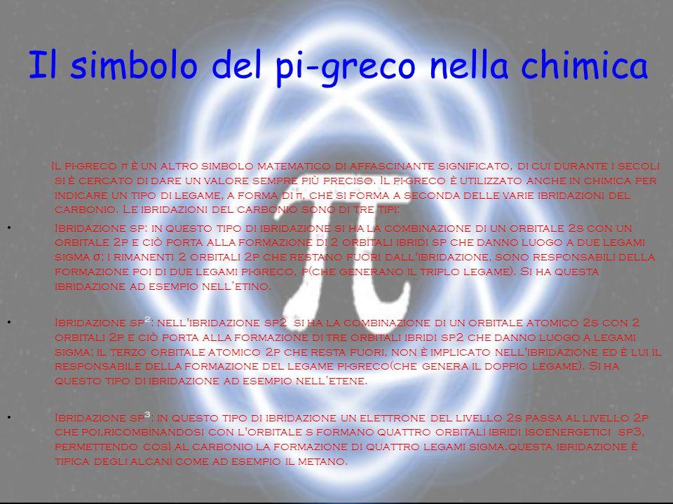 Il simbolo del pi-greco nella chimica Il pi-greco π è un altro simbolo matematico di affascinante significato, di cui durante i secoli si è cercato di dare un valore sempre più preciso.
