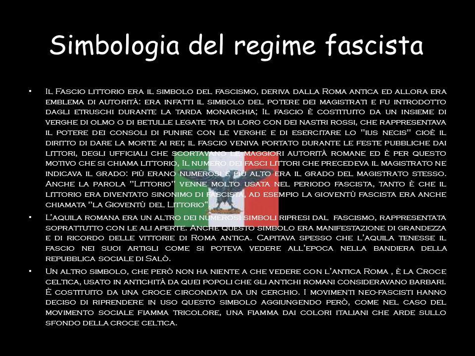 Simbologia del regime fascista Il Fascio littorio era il simbolo del fascismo, deriva dalla Roma antica ed allora era emblema di autorità: era infatti