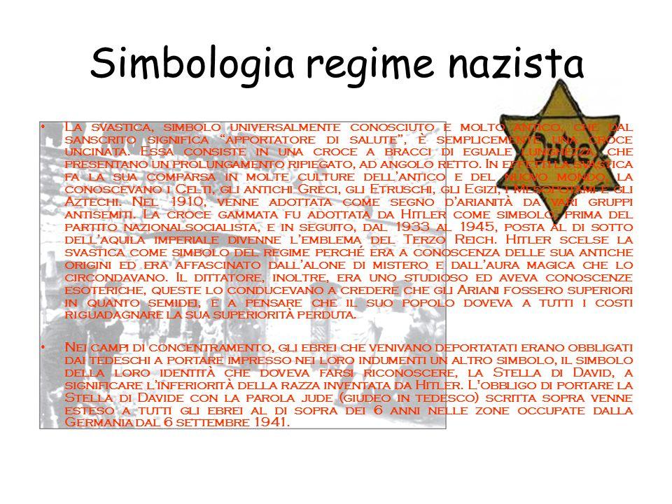 """Simbologia regime nazista La svastica, simbolo universalmente conosciuto e molto antico, che dal sanscrito significa """"apportatore di salute"""", è sempli"""