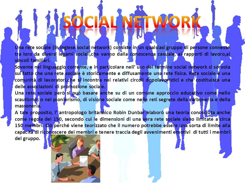 Una rete sociale (in inglese social network) consiste in un qualsiasi gruppo di persone connesse tra loro da diversi legami sociali,che vanno dalla co