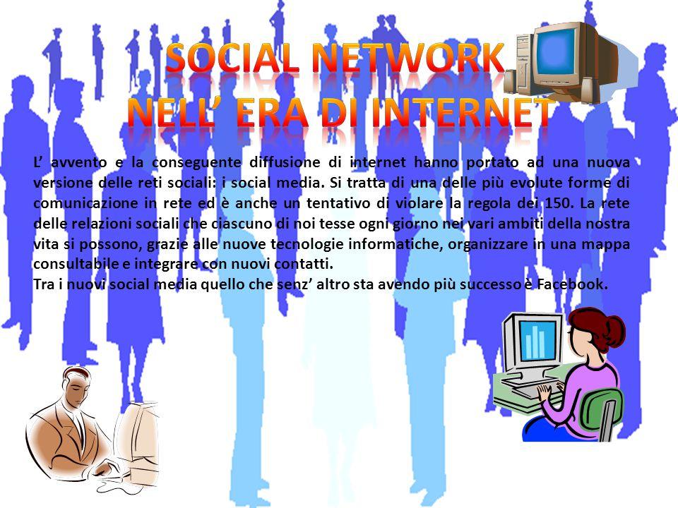 L' avvento e la conseguente diffusione di internet hanno portato ad una nuova versione delle reti sociali: i social media. Si tratta di una delle più