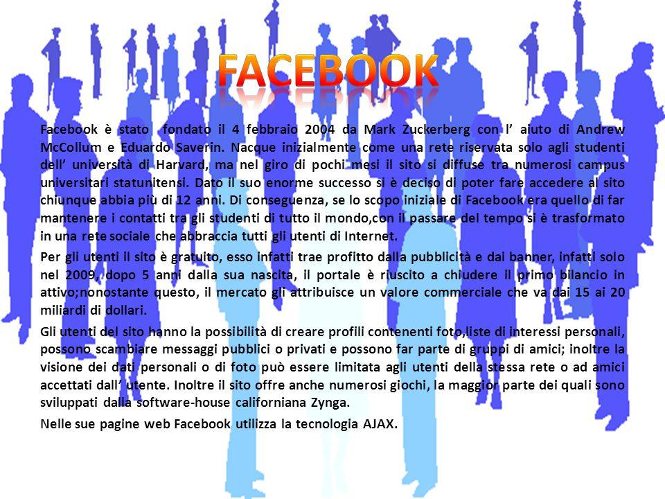 Facebook è stato fondato il 4 febbraio 2004 da Mark Zuckerberg con l' aiuto di Andrew McCollum e Eduardo Saverin. Nacque inizialmente come una rete ri