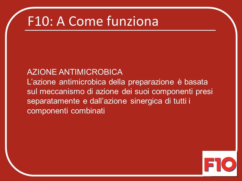 F10: Azione antimicrobica AZIONE ANTIMICROBICA Alle concentrazioni consigliate sono state valutate una riduzione significativa nella conta microbica di batteri gram positivi e gram negativi, funghi e lieviti, virus con e senza involucro, spore