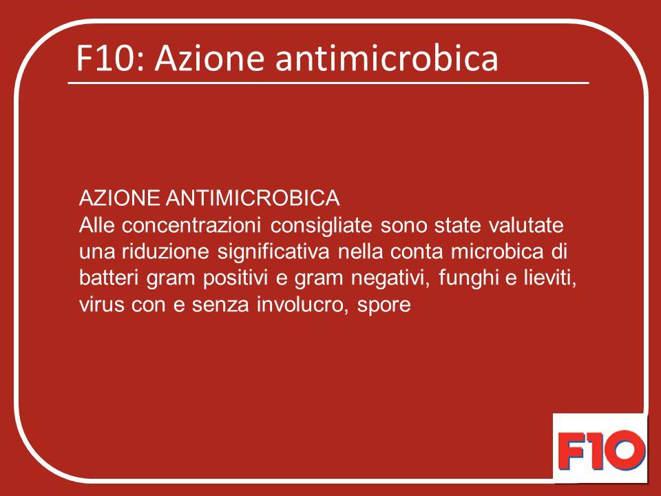 F10: Azione antimicrobica AZIONE ANTIMICROBICA Alle concentrazioni consigliate sono state valutate una riduzione significativa nella conta microbica d