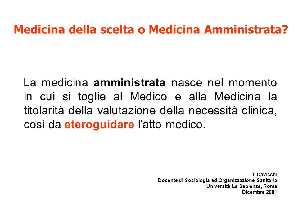 La medicina amministrata nasce nel momento in cui si toglie al Medico e alla Medicina la titolarità della valutazione della necessità clinica, così da eteroguidare l'atto medico.
