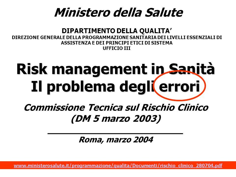 Ministero della Salute DIPARTIMENTO DELLA QUALITA' DIREZIONE GENERALE DELLA PROGRAMMAZIONE SANITARIA DEI LIVELLI ESSENZIALI DI ASSISTENZA E DEI PRINCIPI ETICI DI SISTEMA UFFICIO III Risk management in Sanità Il problema degli errori Commissione Tecnica sul Rischio Clinico (DM 5 marzo 2003) _______________________ Roma, marzo 2004 www.ministerosalute.it/programmazione/qualita/Documenti/rischio_clinico_280704.pdf
