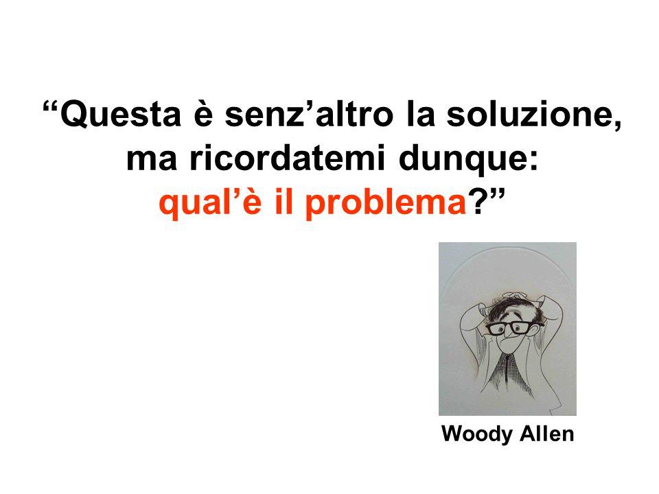 Questa è senz'altro la soluzione, ma ricordatemi dunque: qual'è il problema? Woody Allen