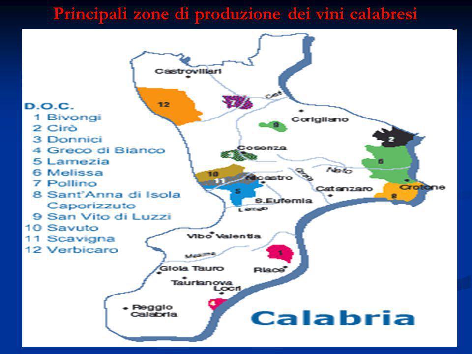 Principali zone di produzione dei vini calabresi