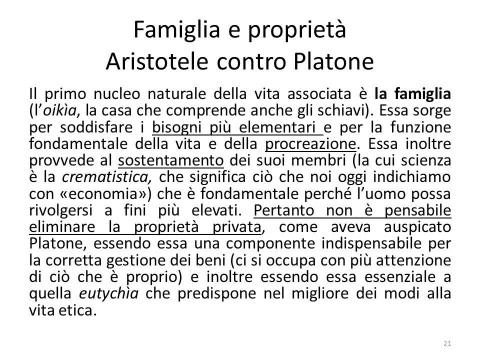 21 Famiglia e proprietà Aristotele contro Platone Il primo nucleo naturale della vita associata è la famiglia (l'oikìa, la casa che comprende anche gli schiavi).