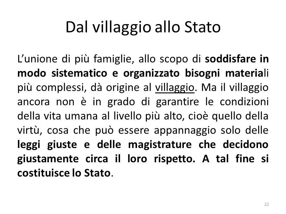 22 Dal villaggio allo Stato L'unione di più famiglie, allo scopo di soddisfare in modo sistematico e organizzato bisogni materiali più complessi, dà origine al villaggio.