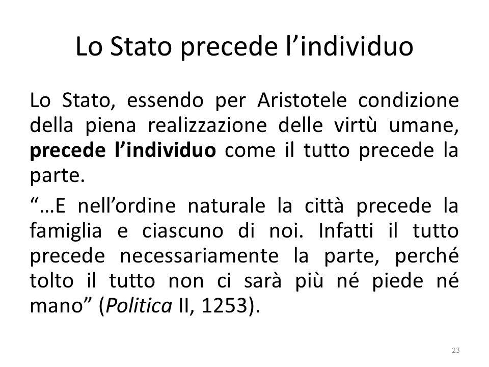 23 Lo Stato precede l'individuo Lo Stato, essendo per Aristotele condizione della piena realizzazione delle virtù umane, precede l'individuo come il tutto precede la parte.