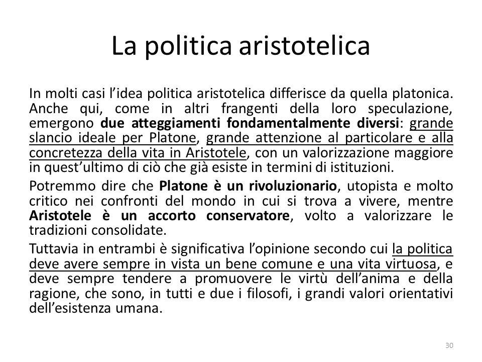 30 La politica aristotelica In molti casi l'idea politica aristotelica differisce da quella platonica.
