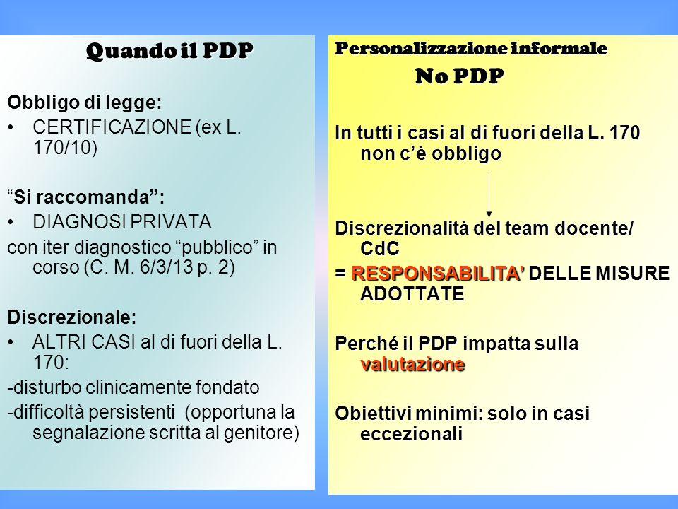 """Quando il PDP Quando il PDP Obbligo di legge: CERTIFICAZIONE (ex L. 170/10) """"Si raccomanda"""": DIAGNOSI PRIVATA con iter diagnostico """"pubblico"""" in corso"""