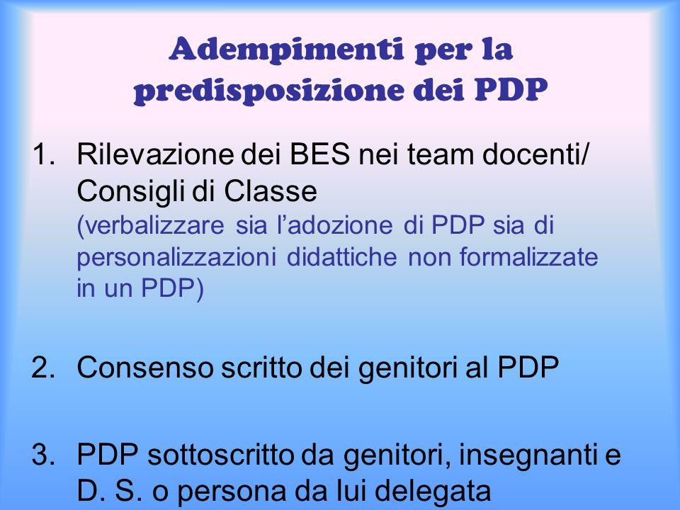 Adempimenti per la predisposizione dei PDP 1.Rilevazione dei BES nei team docenti/ Consigli di Classe (verbalizzare sia l'adozione di PDP sia di perso