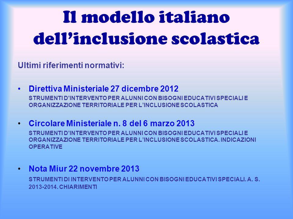 Il modello italiano dell'inclusione scolastica Ultimi riferimenti normativi: Direttiva Ministeriale 27 dicembre 2012 STRUMENTI D'INTERVENTO PER ALUNNI