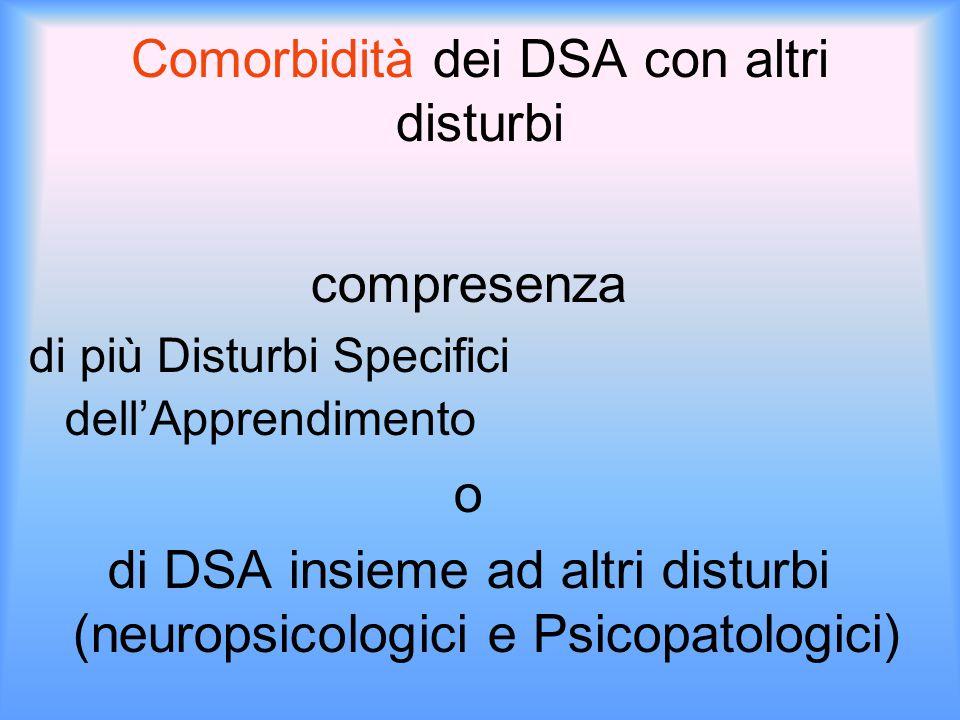 Comorbidità dei DSA con altri disturbi compresenza di più Disturbi Specifici dell'Apprendimento o di DSA insieme ad altri disturbi (neuropsicologici e