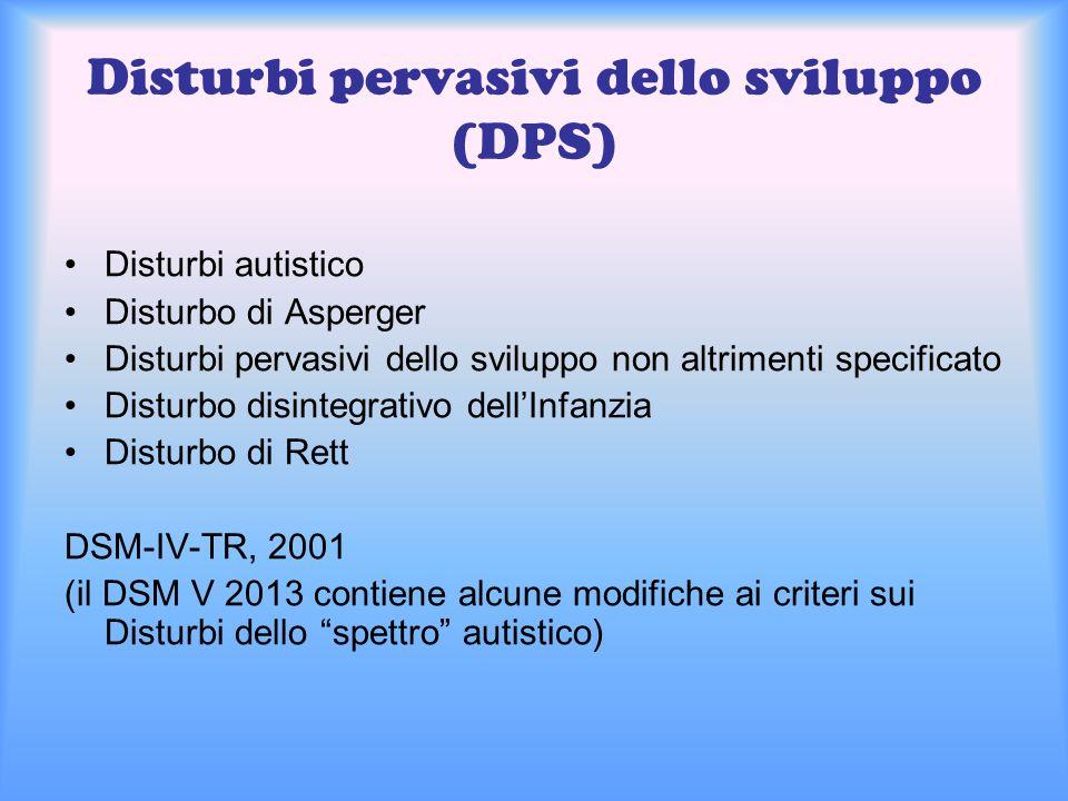 Disturbi pervasivi dello sviluppo (DPS) Disturbi autistico Disturbo di Asperger Disturbi pervasivi dello sviluppo non altrimenti specificato Disturbo