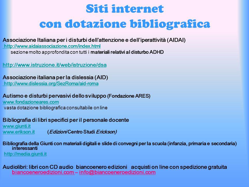 Siti internet con dotazione bibliografica Associazione Italiana per i disturbi dell'attenzione e dell'iperattività (AIDAI) http://www.aidaiassociazion