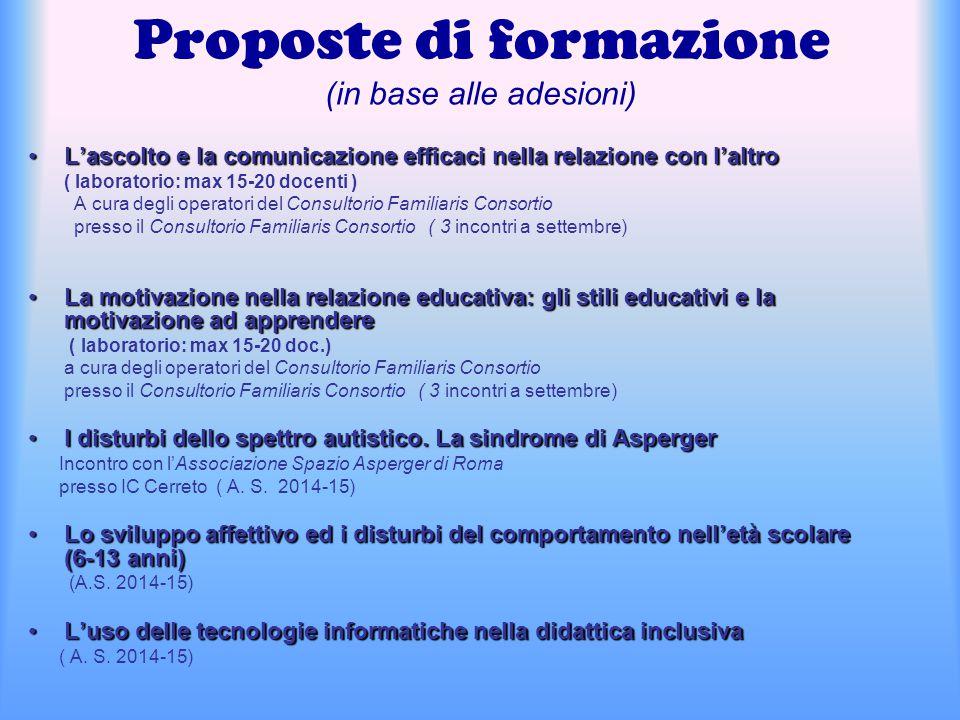 Proposte di formazione (in base alle adesioni) L'ascolto e la comunicazione efficaci nella relazione con l'altroL'ascolto e la comunicazione efficaci