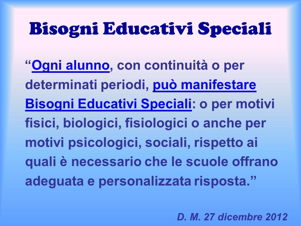 """Bisogni Educativi Speciali """"Ogni alunno, con continuità o per determinati periodi, può manifestare Bisogni Educativi Speciali: o per motivi fisici, bi"""