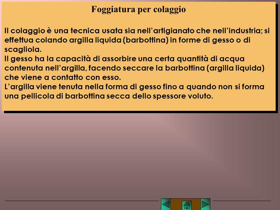 2) Argilla allo stato liquido: foggiatura per colaggio; 2) Argilla allo stato liquido: foggiatura per colaggio; liquidoliquido