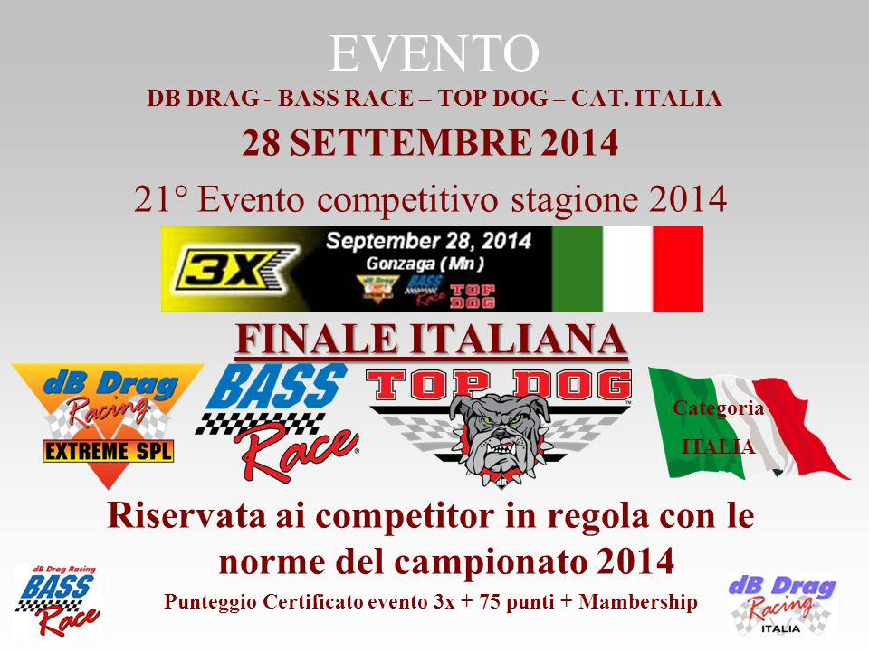 ISCRIZIONI DB DRAG RACING o BASS RACE o TOP DOG o Categoria ITALIA €uro 20,00 PREMIAZIONE CON ATTESTATO