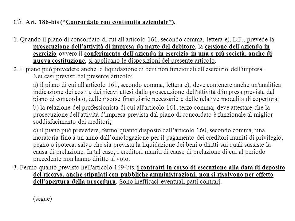 Cfr.Art. 186-bis ( Concordato con continuità aziendale ).