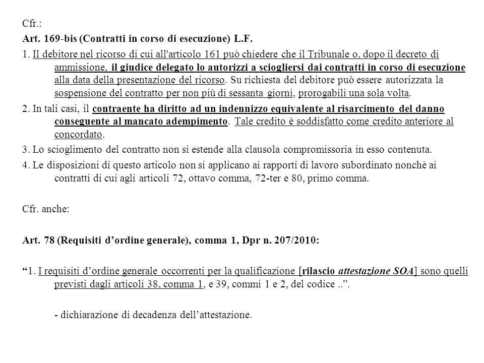 Cfr.: Art. 169-bis (Contratti in corso di esecuzione) L.F. 1. Il debitore nel ricorso di cui all'articolo 161 può chiedere che il Tribunale o, dopo il