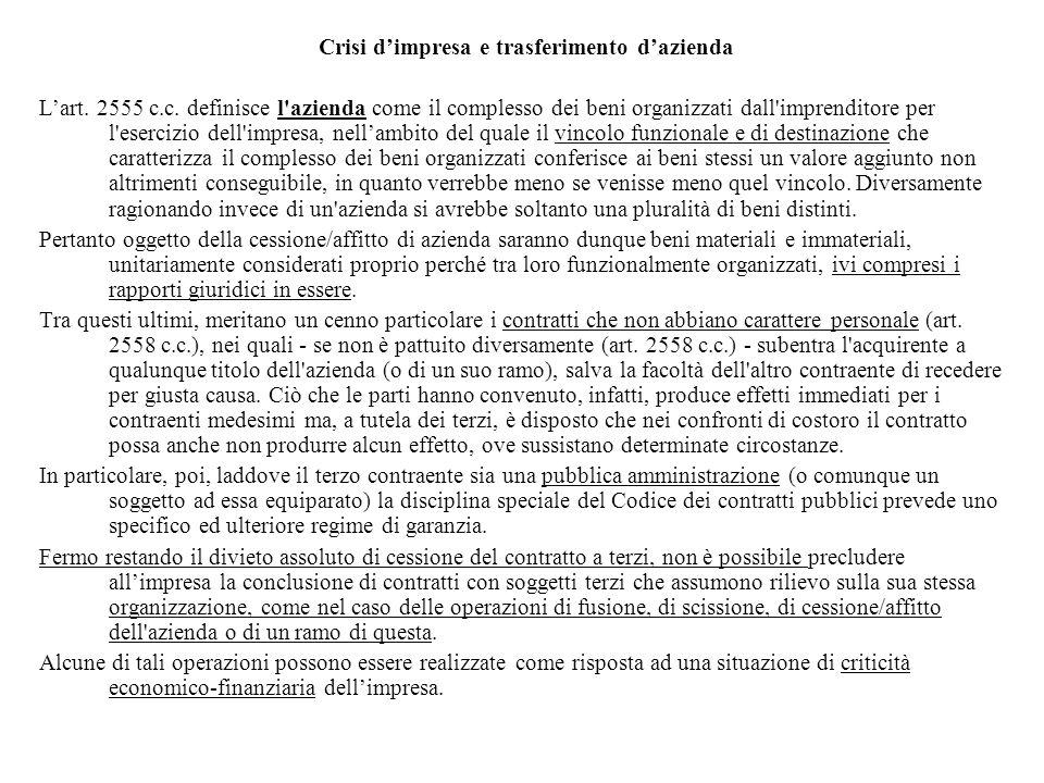 Crisi d'impresa e trasferimento d'azienda L'art. 2555 c.c. definisce l'azienda come il complesso dei beni organizzati dall'imprenditore per l'esercizi