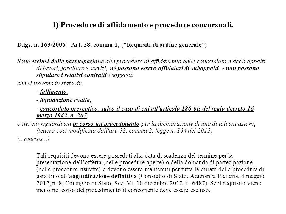 """I) Procedure di affidamento e procedure concorsuali. D.lgs. n. 163/2006 – Art. 38, comma 1, (""""Requisiti di ordine generale"""") Sono esclusi dalla partec"""