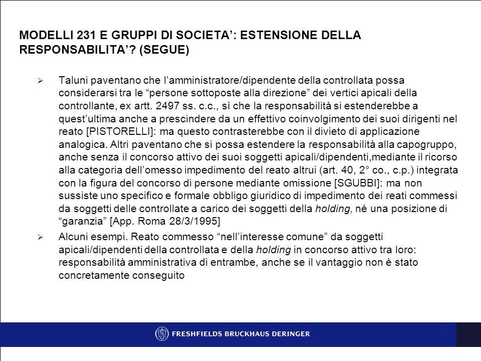 MODELLI 231 E GRUPPI DI SOCIETA': ESTENSIONE DELLA RESPONSABILITA'.