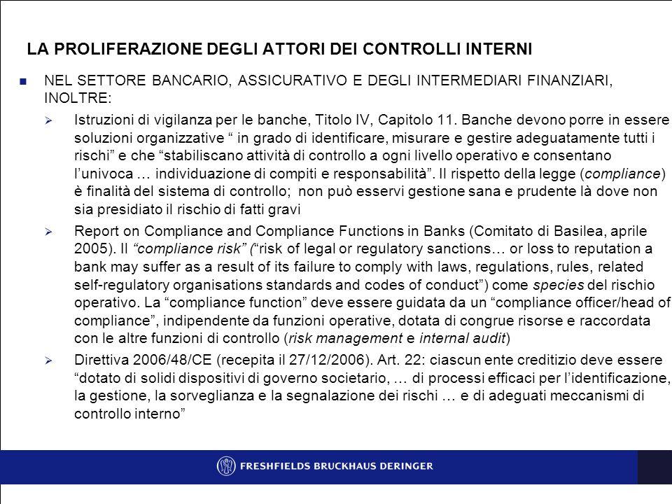 NEL SETTORE BANCARIO, ASSICURATIVO E DEGLI INTERMEDIARI FINANZIARI (SEGUE)  Circolare Bankitalia n.