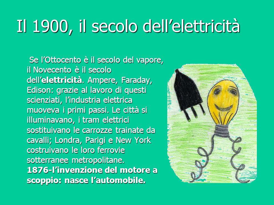 Il 1900, il secolo dell'elettricità Se l'Ottocento è il secolo del vapore, il Novecento è il secolo dell'elettricità. Ampere, Faraday, Edison: grazie