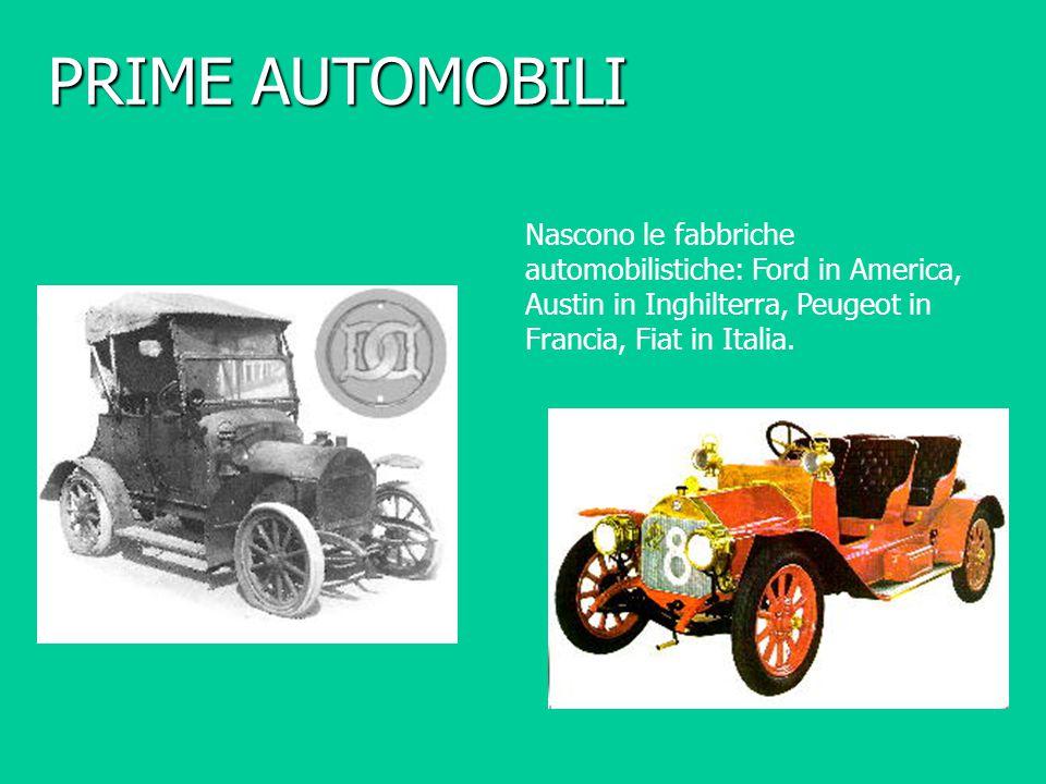 PRIME AUTOMOBILI Nascono le fabbriche automobilistiche: Ford in America, Austin in Inghilterra, Peugeot in Francia, Fiat in Italia.