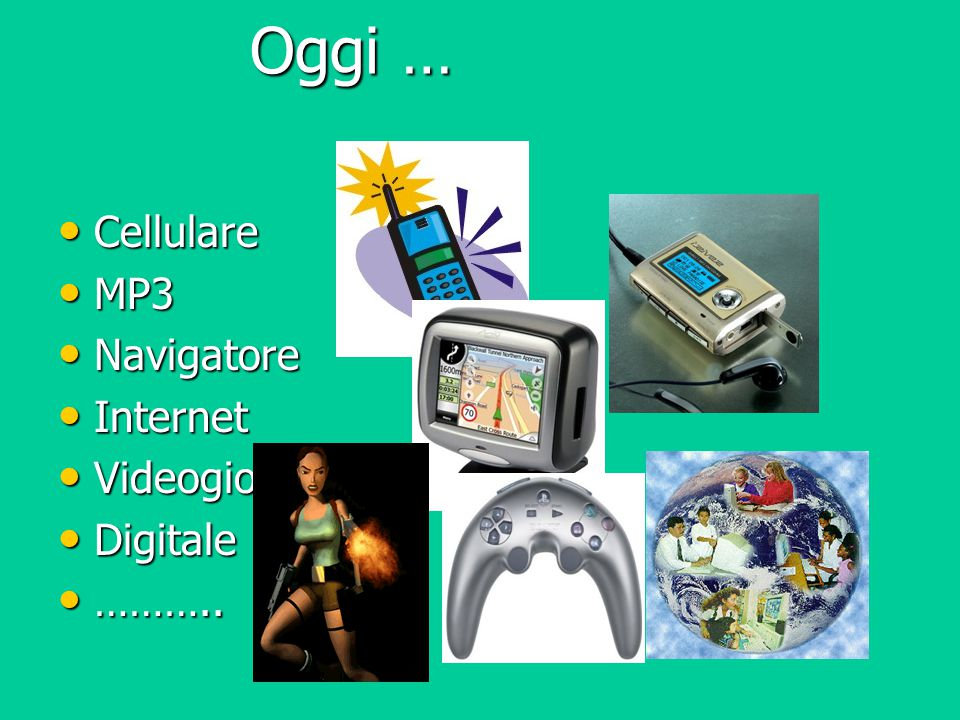 Oggi … Cellulare Cellulare MP3 MP3 Navigatore Navigatore Internet Internet Videogiochi Videogiochi Digitale Digitale ……….. ………..