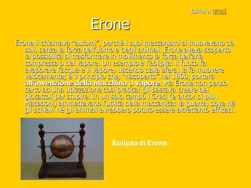 """torna a greci Erone greci Erone li chiamava """"automi"""", perchè i suoi meccanismi si muovevano da soli, senza la forza dell'uomo e degli animali. Erone a"""