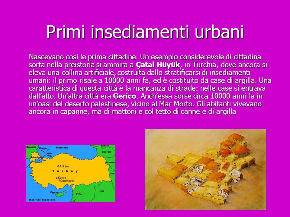 Primi insediamenti urbani Nascevano così le prima cittadine. Un esempio considerevole di cittadina sorta nella preistoria si ammira a Çatal Hüyük, in