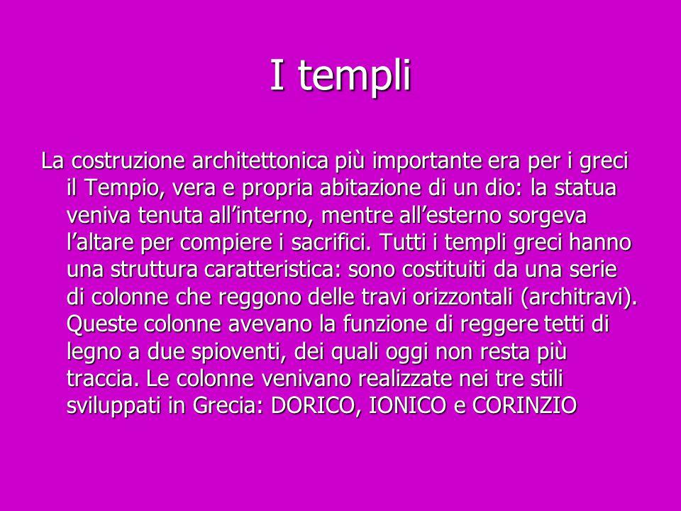 I templi La costruzione architettonica più importante era per i greci il Tempio, vera e propria abitazione di un dio: la statua veniva tenuta all'inte