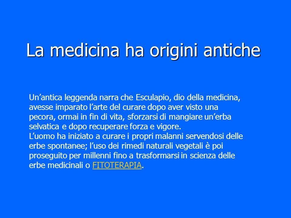 La medicina ha origini antiche Un'antica leggenda narra che Esculapio, dio della medicina, avesse imparato l'arte del curare dopo aver visto una pecor