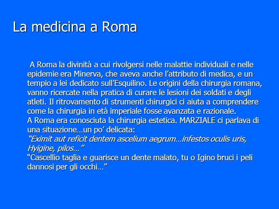 La medicina a Roma A Roma la divinità a cui rivolgersi nelle malattie individuali e nelle epidemie era Minerva, che aveva anche l'attributo di medica,