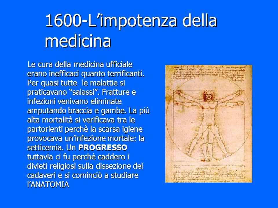 """1600-L'impotenza della medicina Le cura della medicina ufficiale erano inefficaci quanto terrificanti. Per quasi tutte le malattie si praticavano """"sal"""