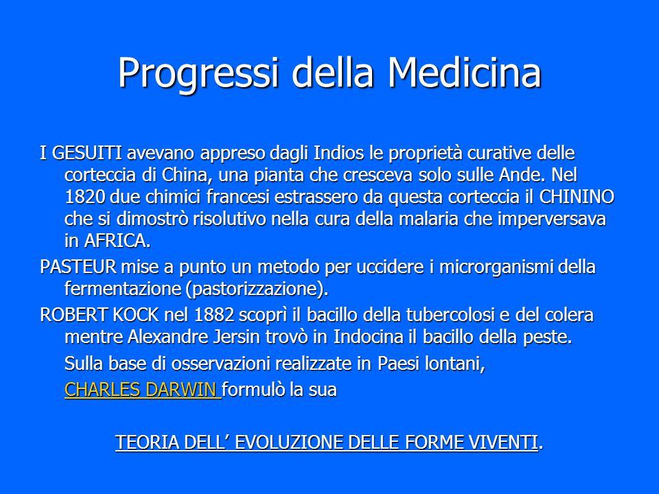 Progressi della Medicina I GESUITI avevano appreso dagli Indios le proprietà curative delle corteccia di China, una pianta che cresceva solo sulle And