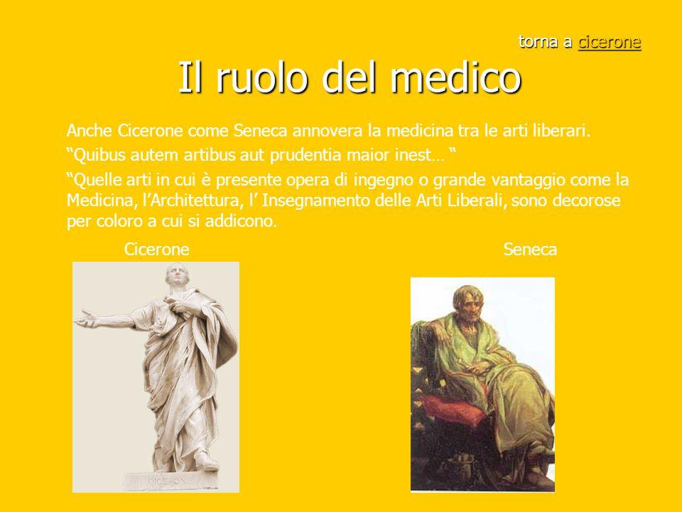 """torna a cicerone Il ruolo del medico cicerone Anche Cicerone come Seneca annovera la medicina tra le arti liberari. """"Quibus autem artibus aut prudenti"""