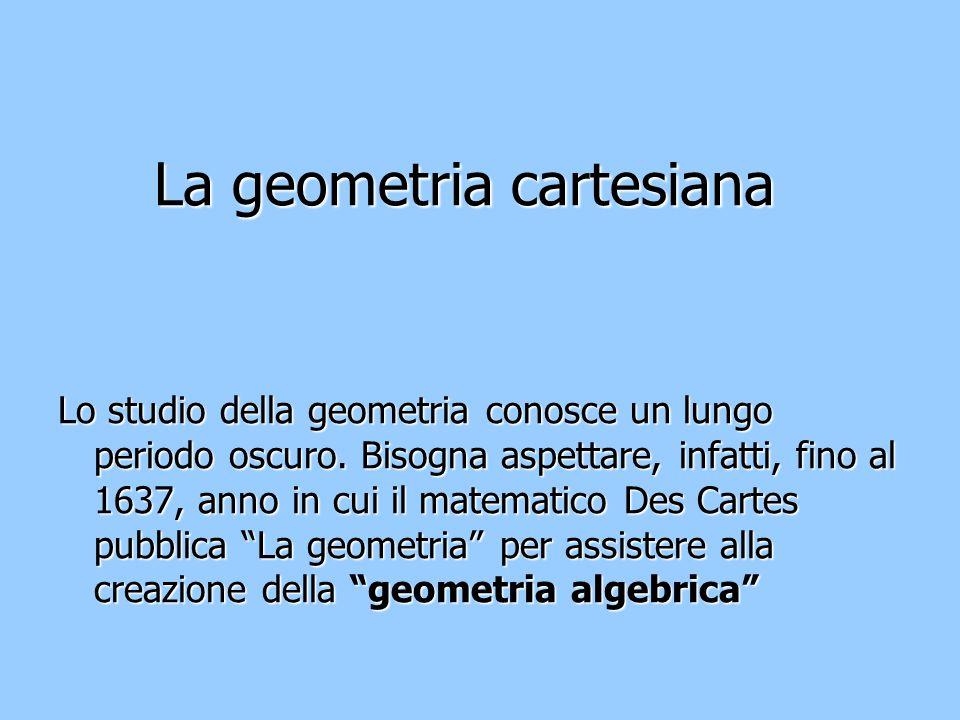 La geometria cartesiana Lo studio della geometria conosce un lungo periodo oscuro. Bisogna aspettare, infatti, fino al 1637, anno in cui il matematico