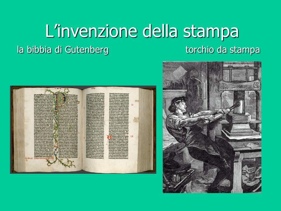 L'invenzione della stampa la bibbia di Gutenberg torchio da stampa