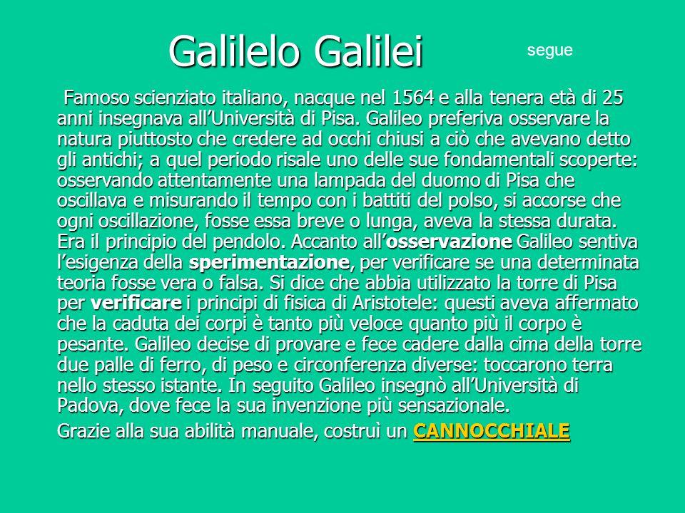 Galilelo Galilei Famoso scienziato italiano, nacque nel 1564 e alla tenera età di 25 anni insegnava all'Università di Pisa. Galileo preferiva osservar